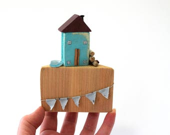 Miniature wooden cottage, reclaimed wooden house, seaside scene, driftwood house,coastal art