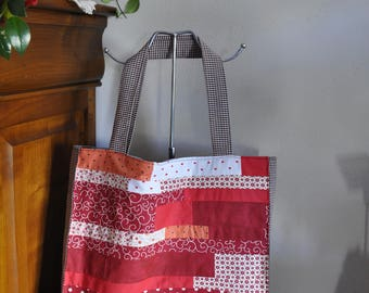 Patchwork shades of red fabric tote bag, cotton gingham Burgundy and grey lining