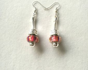 dangle earrings multicolor red orange