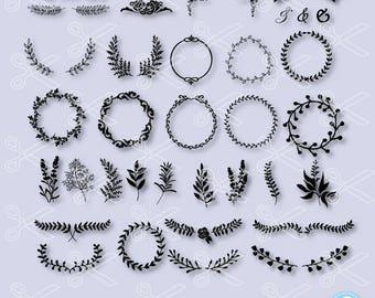 Floral Wreath SVG, PNG, DXF, Eps Cutting Files, Wreath Svg, Wreath Bundle Svg, Laurel Wreath Svg, Wreath Svg Cut File, Monogram Svg