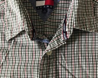 90s Tommy Hilfiger | Tommy Jeans | Plaid | Button Up Shirt | Adult Small |