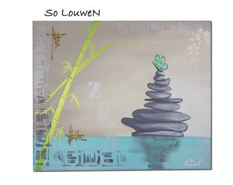 ASIA 4 painting on canvas, Acrylic paint (ZEN - Pebble) 1