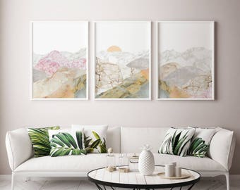 10% Save Mountain 3 Piece Art, Mountain Decor Art, Large Office Wall Art