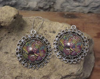 """Earrings sleepers Silver collection""""psychedelic"""" 5"""