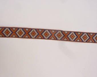 430 cm by 21 mm stripe in Navy Blue/beige/orange geometric designs