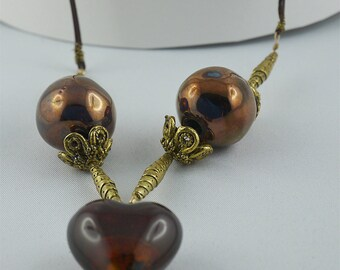 Chocolate and Tan LAMPWORK heart NECKLACE antique