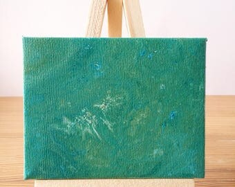 "Abstract Art Acrylic Painting Original | ""Spearmint"" 7cm x 9cm Canvas With Easel"