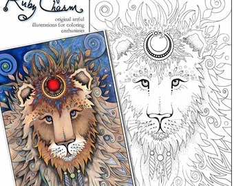 lion downloadable printable adult coloring page ruby charm artful illustrations for coloring enthusiasts animals