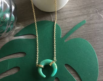 Trendy Golden turquoise horn on chain necklace