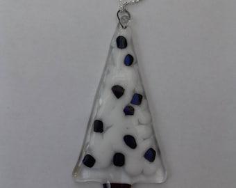 Fused glass Christmas tree decoration