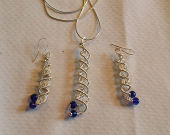spiral earrings & necklace with sapphire blue accents