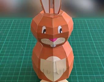 Paper Bunny Model (Caramel) DIY Paper Craft