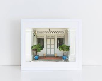 Print of Beautiful White Singapore Shophouse