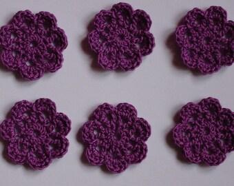 set of 6 small purple flowers crocheted diameter 3 cm