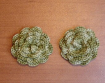 """set of 2 flowers crocheted """"pink style"""" Avocado Green"""