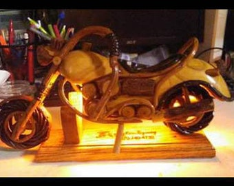 Wooden Motorcyle that is hand made with LED