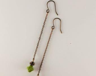 Bronze & Chartreuse Green Drop Earrings