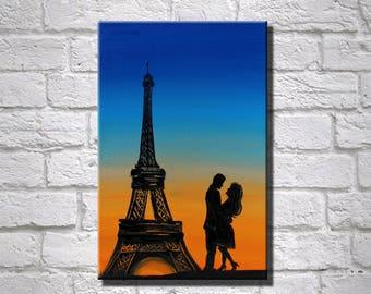 Love Couple Painting Valentine's day Romantic Painting Couple In Love Eiffel Tower Painting Couple Hugging Paris Couple Love Dreamy Wall Art