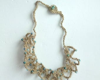 jute and glass beads necklace and not in shades of blue/necklace