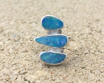 Opal Doublet Sterling Ring Size 5.75