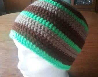 Brown green grey stripes Beanie / Hat