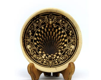 3D Aztec Hole - Pyrography coconut shell