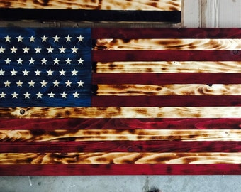 Wood burned American flag