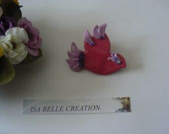 Fuchsia pink and purple bird brooch