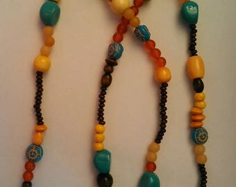 Multi-color Wood Bead Necklace with Large Turquoise and Patterned Turquoise Beads