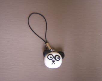 Portable panda head charm, strap kawaii Japanese animal, decoration Kit.