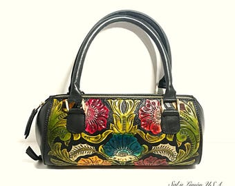 Hand Tooled Clutch/ Carved Clutch/ Hand painted Small Purse/ Black Clutch