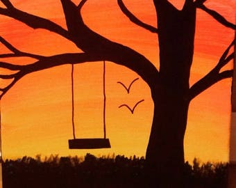 Canvas Tree Painting, Tree Painting, Sunset, Canvas Art, Nature Painting