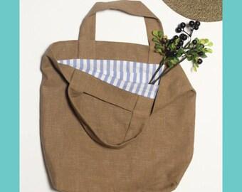 Linen Bag, Tote Bag, Fabric Bag, Market Bag, Shoulder Bag, Stripe Bag, Summer Bag, Summer Vacation
