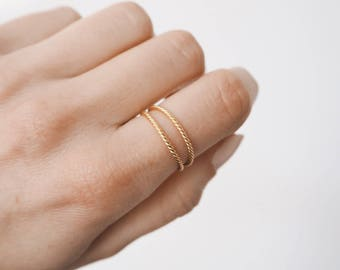Double Ring - stacking ring - Gold delicate ring - delicate ring - minimalist jewelry - gold ring - Dainty jewelry - R001