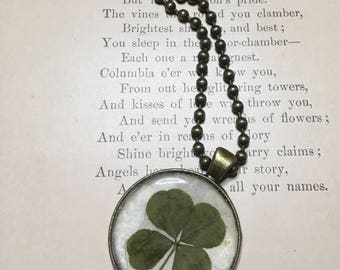 Real four leaf clover pendant