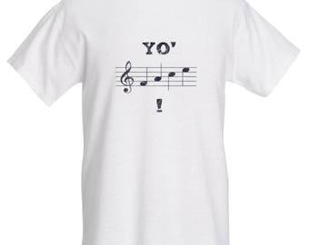 Yo' Face! (Pattern A, WHITE): Musician humor T-Shirt. [Sheet Music and Music Note puns]