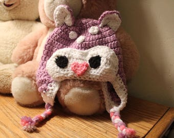 Cute Toddler/Child Crochet Deer Hat With Earflaps For Winter