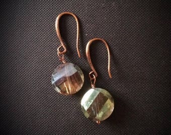 Nickel free  Copper ear wires with green glass