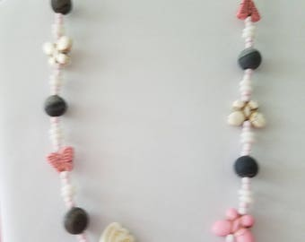 Howlite butterfly necklace