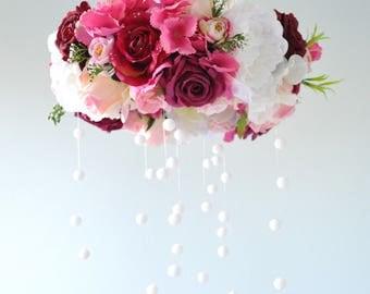 Flower mobile, Floral mobile, Floral Chandelier,decoration,Crystal Mobile, Nursery Mobile,Baby mobile,Romantic flower,Wedding chandelier