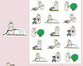 BUNCH of Gardening | Planner Stickers | Kawaii | Rabbit | Bunny | Animal | Erin Condren |   | S121