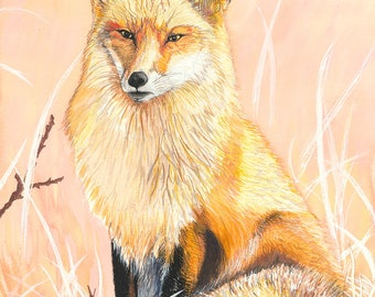 Vigilant Fox Archival Giclée Print on Archival Fine Art Paper Made of Cotton