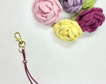 Monkey fist knot planner charm / purse charm / key ring with diamond