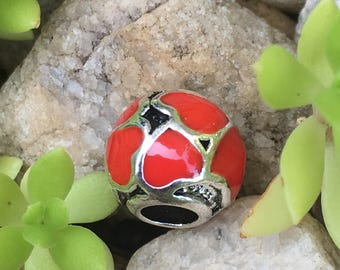 SALE! Sterling Silver Red Hot Love Heart Enamel Charm Bead-Pandora Charm, Fits European & Pandora Charm Bracelet-Gift Birthday