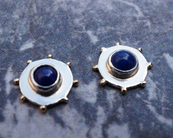 Lapis Lazuli Circle Earrings - Sterling Silver Disc Earrings - Gold Dot Earrings - Lapis & Silver Stud Earrings - Deep Blue Circle Studs