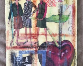 "Hmm, I Think I'll Have That Cherry - Original Encaustic Mixed Media Collage - 8""x10"""