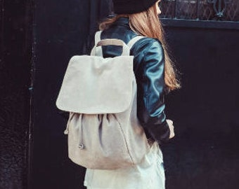 Leather Backpack, School Backpack, Suede Backpack, Gray Backpack,  Street Backpack, Vegan Leather, Vegan Suede