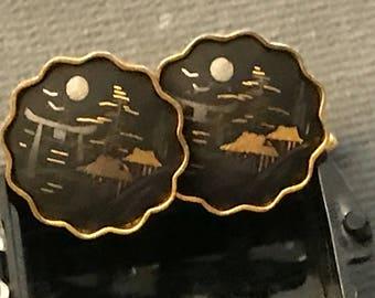 Delicate Vintage Amita Japan Damascene Cufflinks