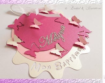 Birth announcement or christening - flower and butterflies - custom Creation