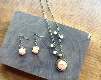 Bronze necklace and earrings with peach chrysanthemums & pearls